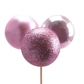 Christmas Balls Trio Mixed 4cm on 50cm stick pink