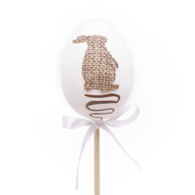 Egg Jute Bunny 6cm on 50cm stick