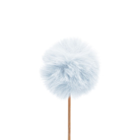Fluffy ball 5cm on 10cm stick light blue