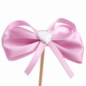 Diamond Ribbon 8cm on 15cm stick pink