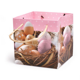 Easter bag Eggs 13x13x13cm pink