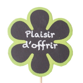 Wooden Flower Plaisir d'offrir 6cm on 15cm stick green