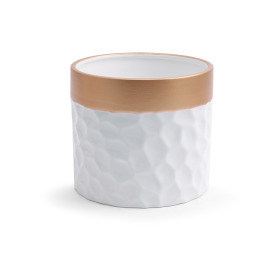 Ceramic Pot Dimples ES14 white/gold
