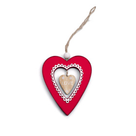 Deco Heart Valentina 7.5x9cm red