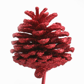Xmas Pinecone 2.75 in on 20 in stick red W/ red Glitter