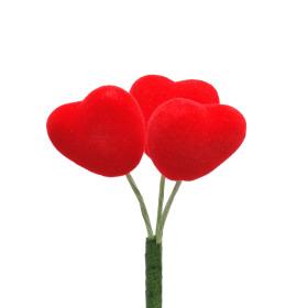 Hart Flocked Love 3x3cm op 10cm stok rood