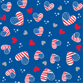 I Love Usa 24x24 in W/ blue Back