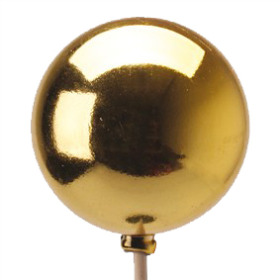 Xmas Ball Shiny 2.5in on 20in stick gold