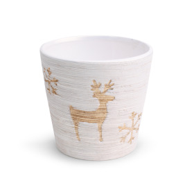 Ceramic Pot Caribou 6in white