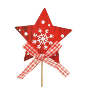 Star wood 7x7cm on 10cm stick red