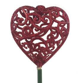 Heart Scroll 7cm on 50cm stick red