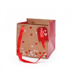 Carrybag Send Love 16x16x16cm natural/red