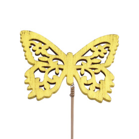 Butterfly Anna 7.5cm on 50cm stick yellow
