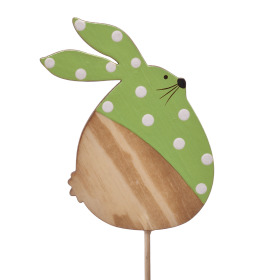 Polka Dot Bunny 9cm on 10cm stick green
