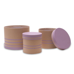 Hat box Duo Lines set/3 Ø19/15/12.5xH15/13/12cm lilac