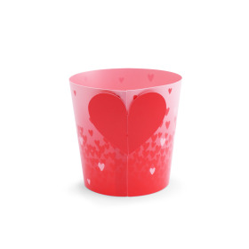 Potcover Million Hearts 4in red/pink