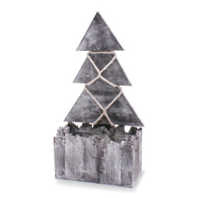 Wooden planter 23x9x10.5cm with Christmas tree TH40 gray