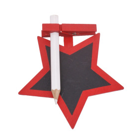 Chalkboard Star with clip 8.5cm red