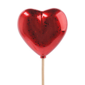 Heart Festive 6.5cm on 50cm stick red