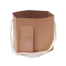 Carrybag Floral Gift Ø6x6 in natural