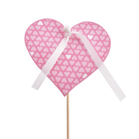 Card Little Love 8cm on 50cm stick pink