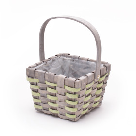 Basket Stripes handle 17x17cm green