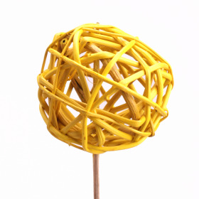 Rattan Ball 6cm on 50cm stick yellow