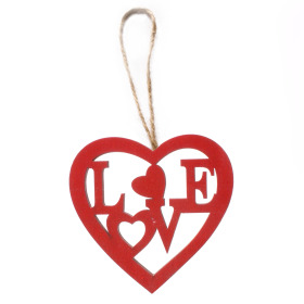 Wooden Heart Love 8cm red