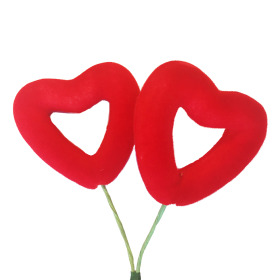 Heart Flocked Love 2x4.5cm on 10cm stick red