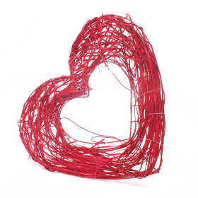 Bouquet holder Rattan Heart 25cm red