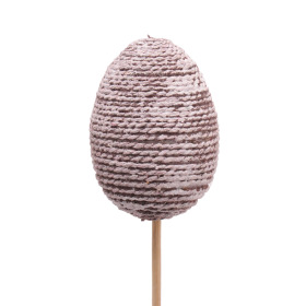 Wrapped Rope Egg 7cm on 50cm stick brown