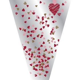 Hoes Confetti Love 50x30x12cm rood/roze