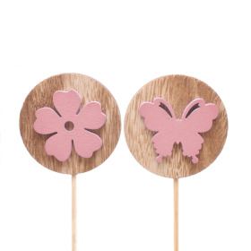 Flora and Fauna assorti 7cm on 50cm stick pink