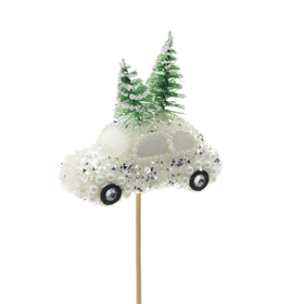 Christmas car Aspen 10cm on 50cm stick white