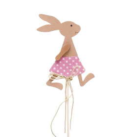 Girl Rabbit 3.5 in on 20 in stick pink