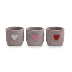 Ceramic Pot Hjarta ES10.5 assorted x3