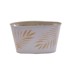 Pot Zinc Oval Urban Jungle 8.5x4.5x4.5 in ocher