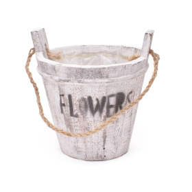 Woody pot Flowers Ø21 H17cm white