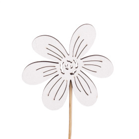 Flower Memories 7cm on 50cm stick white