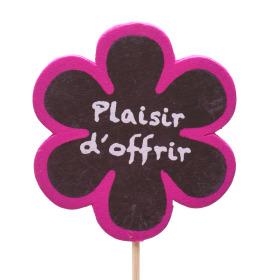 Wooden Flower Plaisir d'offrir 6cm on 15cm stick cerise