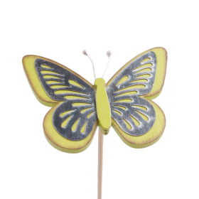 Butterfly Tess 9cm on 50cm stick green