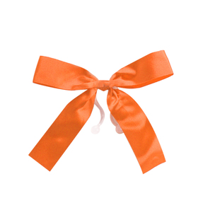 Plastic bow 10cm with clip orange