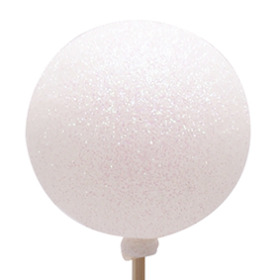 Christmas Ball Glitter 6cm on 50cm stick white