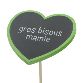 Heart Gros Bisous Mamie 8cm on 50cm stick FSC Mix green