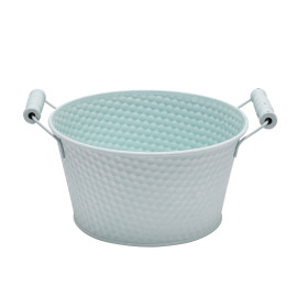 Zinc Bowl Honeycomb Ø8.8 H4in blue