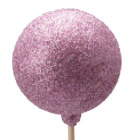 Xmas Ball Glitter 2.5 in on 20 in stick pink