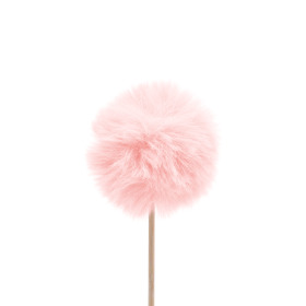 Fluffy Ball 5cm on 10cm stick pink