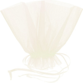 ORGANZA BQT ROSET HOLDER 20x12 IN IVORY