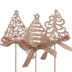 Christmas Tree Ornamental with bow 7cm on 50cm stick naturel
