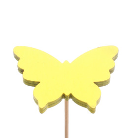 Baby Butterfly 4.5cm on 10cm stick yellow